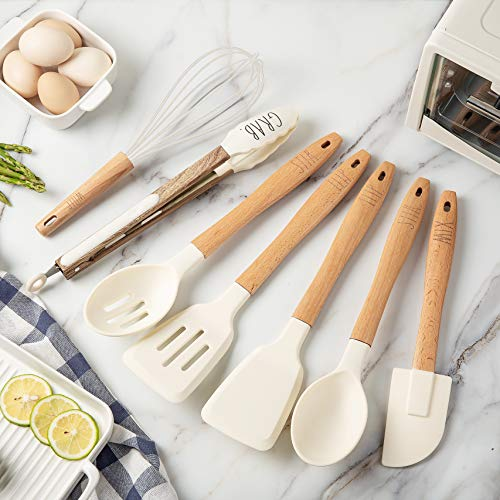 Rae Dunn Everyday Collection 7 Piece Kitchen Utensil Set Stainless Steel And Silicone Kitchen Tools With Wooden Handles White 0 0