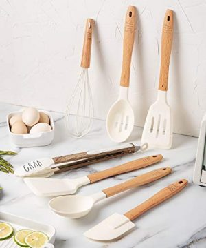 Rae Dunn Everyday Collection 7 Piece Kitchen Utensil Set Stainless Steel And Silicone Kitchen Tools With Wooden Handles White 0 2 300x360