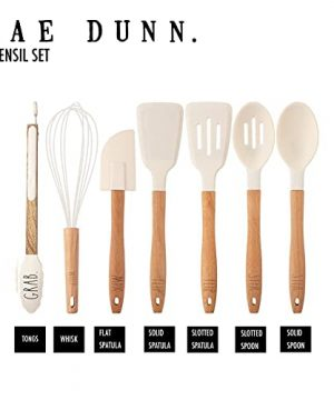 Rae Dunn Everyday Collection 7 Piece Kitchen Utensil Set Stainless Steel And Silicone Kitchen Tools With Wooden Handles White 0 3 300x360