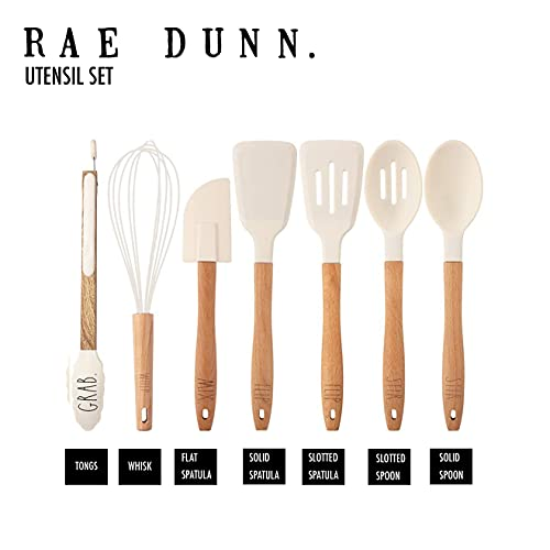 Rae Dunn Everyday Collection 7 Piece Kitchen Utensil Set Stainless Steel And Silicone Kitchen Tools With Wooden Handles White 0 3