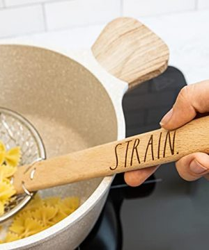 Rae Dunn Everyday Collection Skimmer Strainer Spoon With Wooden Handle For Cooking And Frying 0 1 300x360