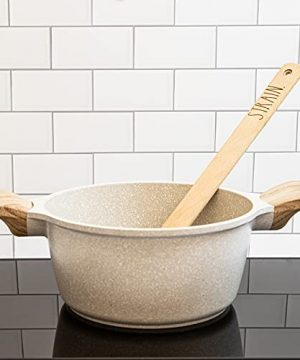 Rae Dunn Everyday Collection Skimmer Strainer Spoon With Wooden Handle For Cooking And Frying 0 2 300x360