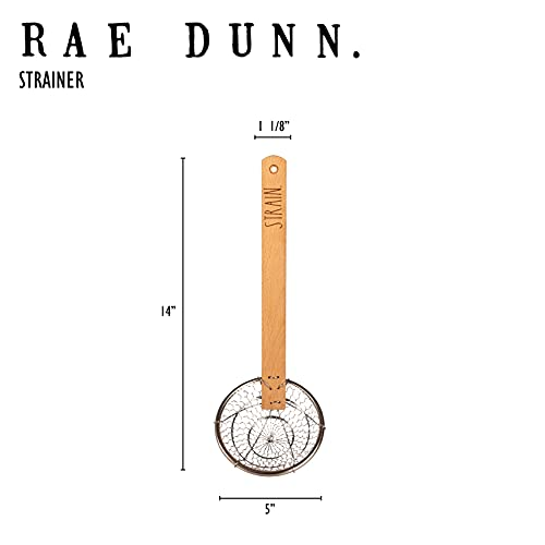 Rae Dunn Everyday Collection Skimmer Strainer Spoon With Wooden Handle For Cooking And Frying 0 3