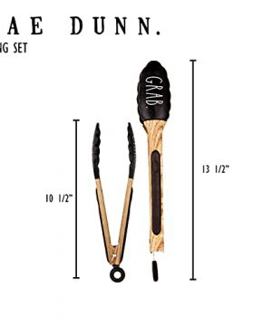 Rae Dunn Everyday Collection Stainless Steel Beechwood Silicone Tipped Kitchen Food BBQ And Cooking Tongs Set Of Two Non Stick Cookware BPA Fee Grill Tongs Black 0 4 300x360