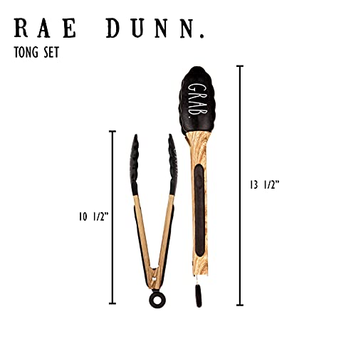 Rae Dunn Everyday Collection Stainless Steel Beechwood Silicone Tipped Kitchen Food BBQ And Cooking Tongs Set Of Two Non Stick Cookware BPA Fee Grill Tongs Black 0 4