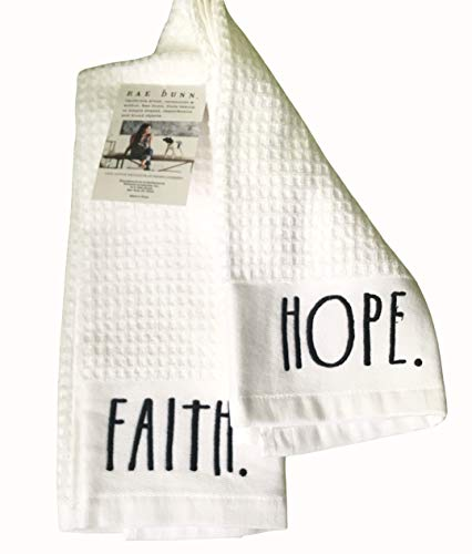 Rae Dunn Kitchen Towel Set Embroidered Faith Hope 100 Cotton With Waffle Weave Pattern 0