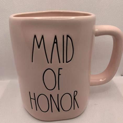 Rae Dunn MAID OF HONOR Mug Allside Pink Ceramic 16 Ounces Wedding Gift 0