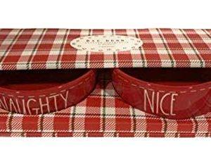 Rae Dunn NAUGHTY NICE Pet Dog Or Cat Bowl Set Of 2 475 Allside Red Ceramic 0 300x233