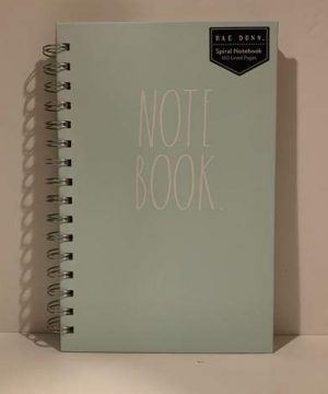 Rae Dunn NOTE BOOK Spiral Turquoise Or Ivory Hard Cover 160 Pages 9 X 6 Inches Office Notebook Lover Gift 0 300x360