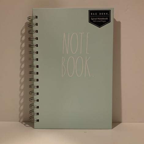 Rae Dunn NOTE BOOK Spiral Turquoise Or Ivory Hard Cover 160 Pages 9 X 6 Inches Office Notebook Lover Gift 0