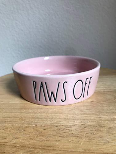 Rae Dunn Paws Off Dog Bowl Pink 0
