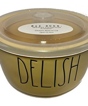 Rae Dunn Round Ceramic Bowl WLid 55 Smaller Size 55 Yellow DELISH 0 300x360