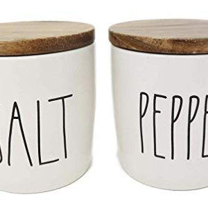Rae Dunn SALT PEPPER Cellars With Wood Lids Ceramic With Large Lettering 0 300x299