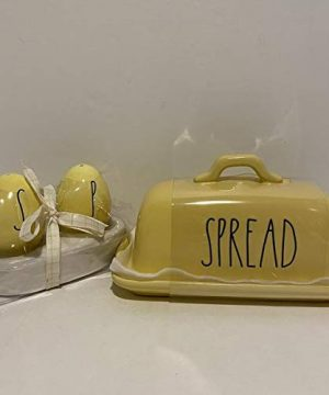 Rae Dunn SPREAD BUTTER Dish SALT PEPPER Set Of 2 Ceramic Microwave And Dishwasher Safe YELLOW 0 300x360