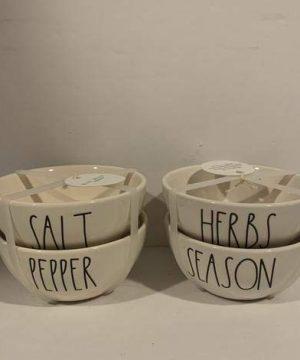 Rae Dunn Salt Pepper HERBS SEASON Cellar Set Of 4 3inD X 2in H 0 300x360
