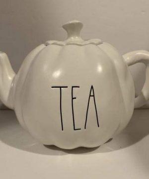 Rae Dunn TEA Teapot Pumpkin Shape Decor Halloween Glazed Ceramic 0 300x360