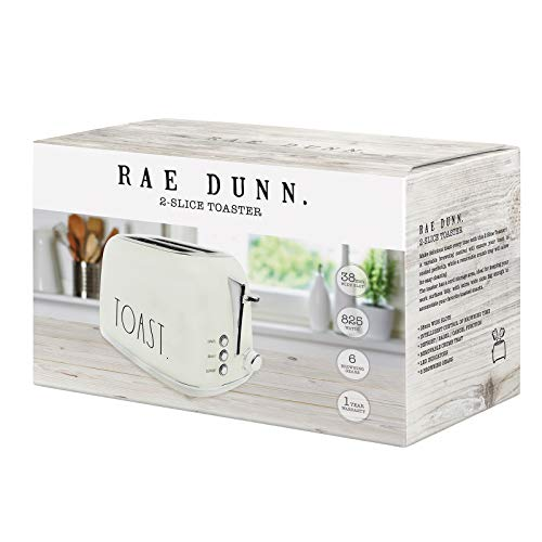 Rae Dunn Toaster Stainless Steel 2 Slice Rounded Toaster Wide Slot With 6 Browning Levels With Bagel Defrost And Cancel Options Cream 0 0