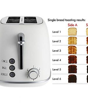 Rae Dunn Toaster Stainless Steel 2 Slice Rounded Toaster Wide Slot With 6 Browning Levels With Bagel Defrost And Cancel Options Cream 0 1 300x360