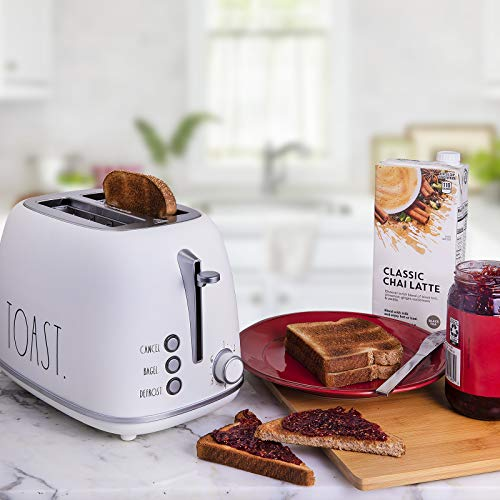 Rae Dunn Toaster Stainless Steel 2 Slice Rounded Toaster Wide Slot With 6 Browning Levels With Bagel Defrost And Cancel Options Cream 0 2