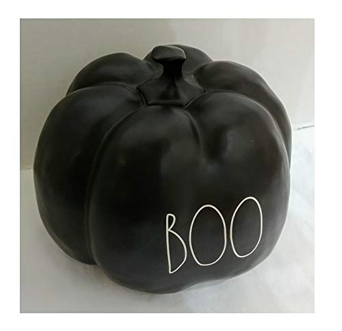 Rae Dunn By Magenta Boo Black Ceramic Large Size Decorative Pumpkin With White Letters 0 0