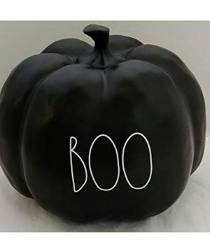 Rae Dunn By Magenta Boo Black Ceramic Large Size Decorative Pumpkin With White Letters 0 300x360
