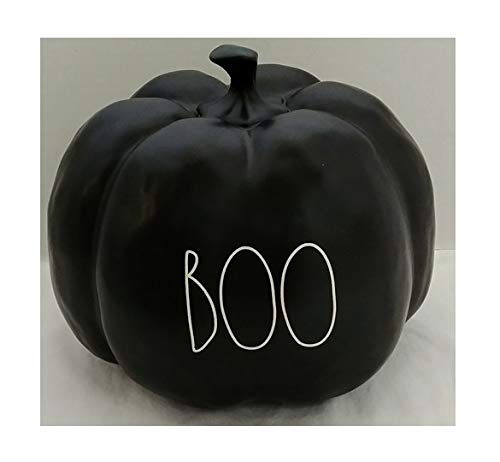 Rae Dunn By Magenta Boo Black Ceramic Large Size Decorative Pumpkin With White Letters 0