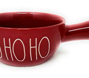 Rae Dunn By Magenta Red Soup Bowl With Handle HO HO HO 0 300x264