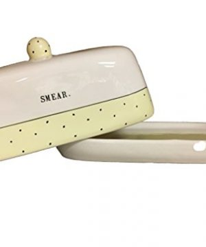 Rae Dunn By Magenta Typeset SMEAR Butter Dish Yellow 0 300x360