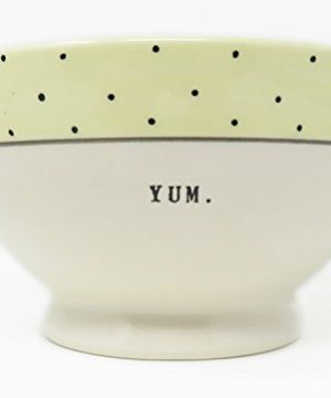 Rae Dunn By Magenta Typeset YUM Footed Cereal Soup Bowl With 1 In Yellow Border And Polka Dots 0 300x360
