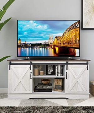 Rainbow Sophia Farmhouse Sliding Barn Door TV Stand For TVs Up To 65 Home Living Room Entertainment Center Wood Storage Cabinet With Doors And Shelves Sargent Oak 0 300x360