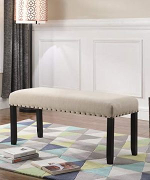 Roundhill Furniture Biony Fabric Dining Bench With Nailhead Trim Tan 0 300x360
