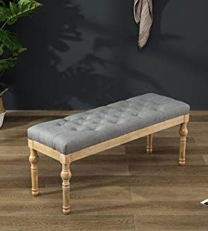 Roundhill Furniture Habit Solid Wood Button Tufted Dining Bench Grey 0 300x333