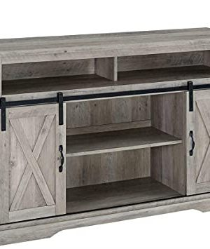 Rustic Farmhouse Sliding Barn Door TV Stand Entertainment Center Tv Stand Coffee Table Side Table Storage Shelves Bedside Table Night Stand Entryway Table Small Table Television Stands 0 300x355