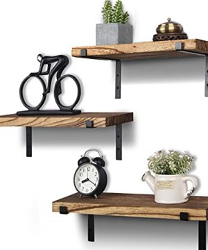 Rustic Wood Floating Shelves Wall Mounted Farmhouse Wooden Wall Shelf For Bathroom Kitchen Bedroom Living Room Set Of 3 Light Brown 0 300x360