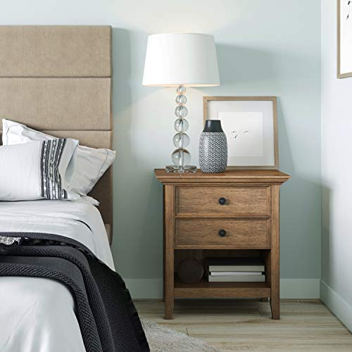 SIMPLIHOME Amherst 24 Inches Wide Night Stand Bedside Table Rustic Natural Aged Brown SOLID WOOD Rectangle With Storage 2 Drawers And 1 Shelf For The Bedroom Transitional 0 0