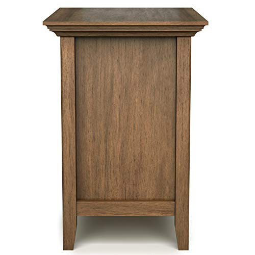 SIMPLIHOME Amherst 24 Inches Wide Night Stand Bedside Table Rustic Natural Aged Brown SOLID WOOD Rectangle With Storage 2 Drawers And 1 Shelf For The Bedroom Transitional 0 2