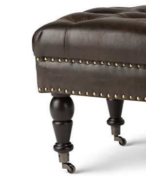SIMPLIHOME Henley 49 Inch Wide Traditional Rectangle Tufted Ottoman Bench In Distressed Brown Bonded Leather For Living Room Bedroom 0 2 300x360