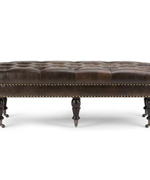 SIMPLIHOME Henley 49 Inch Wide Traditional Rectangle Tufted Ottoman Bench In Distressed Brown Bonded Leather For Living Room Bedroom 0 3 300x360