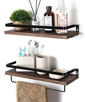 SODUKU Floating Shelves Wall Mounted Storage Shelves For Kitchen BathroomSet Of 2 Brown 0 300x360