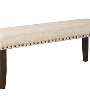 Signature Design By Ashley Rokane Upholstered Farmhouse Bench Beige Brown Dark BrownTan Pack Of 2 0 300x360