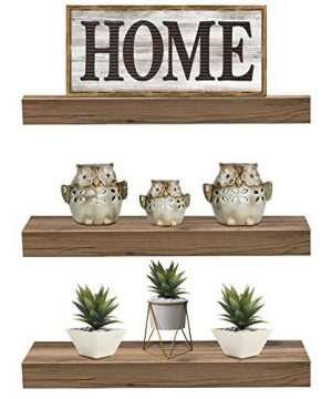 Sorbus Floating Shelf Set Rustic Wood Hanging Rectangle Wall Shelves Perfect For Home Decor Trophy Display Photo Frames And More 3 Pack Mahogany 0 300x360