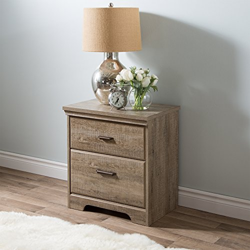 South Shore Versa 2 Drawer Nightstand Weathered Oak Traditional 0