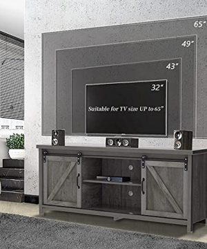 TV StandFarmhouse TV Stand With Storage CabinetVintage TV Console With Barn Doors For TVs Up To 65 InchEntertainment Center Wooden Television Stands For Living Room58Charcoal 0 300x360