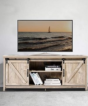 TV StandFarmhouse TV Stand With Storage CabinetVintage TV Console With Barn Doors For TVs Up To 65 InchEntertainment Center Wooden Television Stands For Living Room58Slate Grey 0 300x360