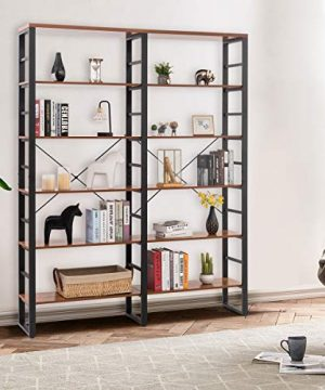 Tangkula 80 Inches Double 6 Shelf Bookcase Industrial Style Double 6 Tier Bookshelf Large Open Bookcases WMetal Frame Ample Storage Display Bookshelf For Home Office 60 L X 135 W X 80 H 0 0 300x360