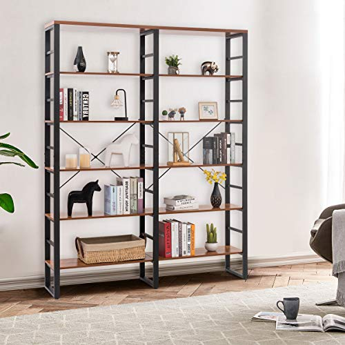 Tangkula 80 Inches Double 6 Shelf Bookcase Industrial Style Double 6 Tier Bookshelf Large Open Bookcases WMetal Frame Ample Storage Display Bookshelf For Home Office 60 L X 135 W X 80 H 0 0