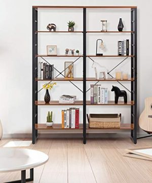 Tangkula 80 Inches Double 6 Shelf Bookcase Industrial Style Double 6 Tier Bookshelf Large Open Bookcases WMetal Frame Ample Storage Display Bookshelf For Home Office 60 L X 135 W X 80 H 0 2 300x360