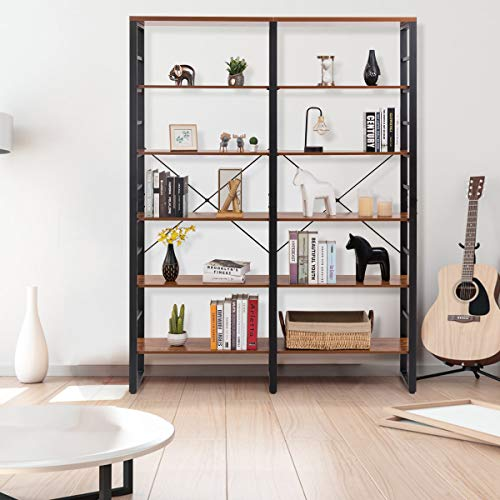 Tangkula 80 Inches Double 6 Shelf Bookcase Industrial Style Double 6 Tier Bookshelf Large Open Bookcases WMetal Frame Ample Storage Display Bookshelf For Home Office 60 L X 135 W X 80 H 0 2