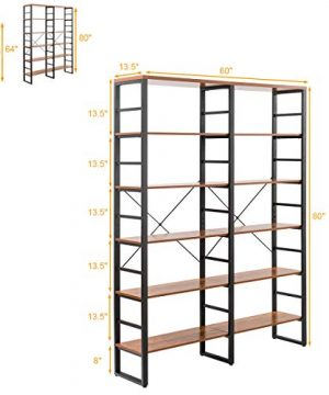 Tangkula 80 Inches Double 6 Shelf Bookcase Industrial Style Double 6 Tier Bookshelf Large Open Bookcases WMetal Frame Ample Storage Display Bookshelf For Home Office 60 L X 135 W X 80 H 0 3 300x360