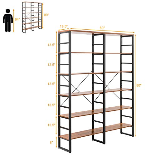 Tangkula 80 Inches Double 6 Shelf Bookcase Industrial Style Double 6 Tier Bookshelf Large Open Bookcases WMetal Frame Ample Storage Display Bookshelf For Home Office 60 L X 135 W X 80 H 0 3